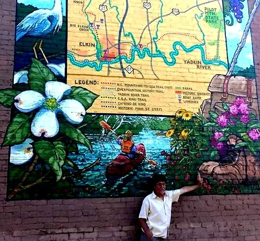 """The Trail Town"" Elkin mural with mural artist Michael Brown"
