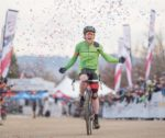 USA Cycling cyclocross teammate Stephen Hyde crosses the finish line